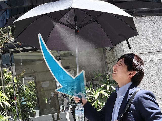 ミスとシャワー付きの傘「ファンブレラ」(提供:サンコー)