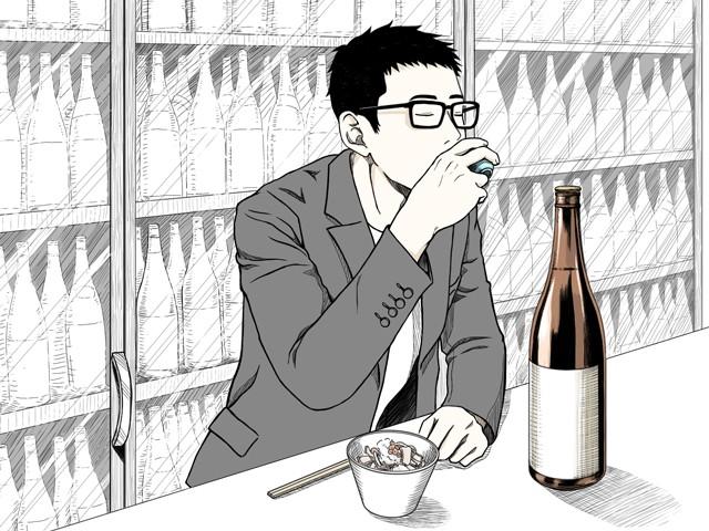 角打ちでは豊富な種類の日本酒が楽しめる(イラスト・古本有美)