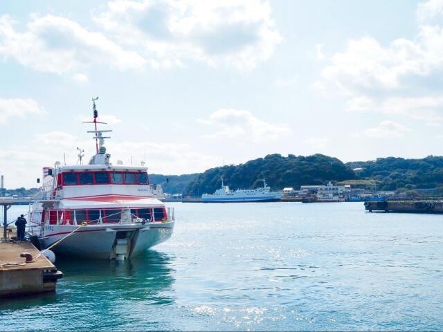 高速船で壱岐島の芦辺港に到着