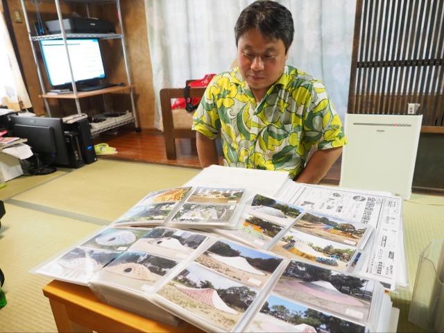 牛田さんは「富士山すべり台」をはじめとしたコンクリート製遊具をさがして撮影し、文献を収集している。