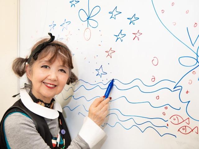 ホワイトボードにイラストを描く田村セツコさん