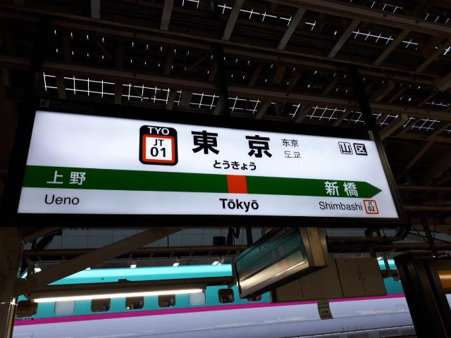 東京駅の駅名看板