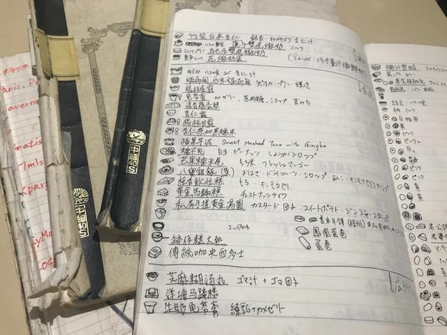 一緒に旅をしてボロボロになったノート。お菓子の詳細が記録されている