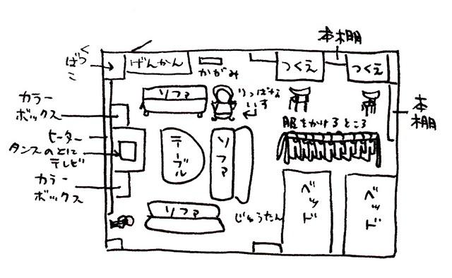 西さんの部屋の間取り図(2001年作成の写真&インタビュー集より)