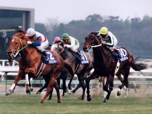 1998年の有馬記念で優勝したグラスワンダー(白)と2着のメジロブライト(黄)(撮影・日刊スポーツ)