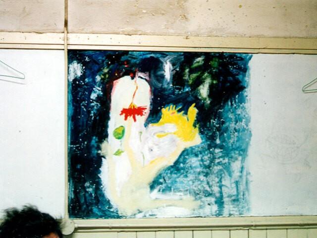 宮崎さんの部屋の壁に描かれていた絵「友達の彼女が描きました」