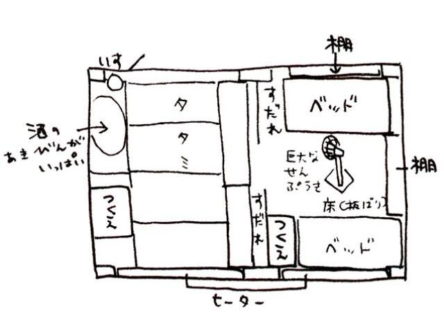 宮崎さんの部屋の間取り図(2001年作成の写真&インタビュー集より)