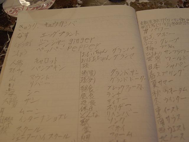 英語の勉強ノート。アルファベットはほとんど出てこない。