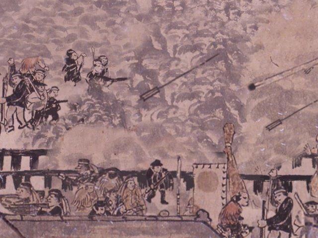 白河口の戦いを描いたとされる『白河口合戦絵巻』より(白河市歴史民俗資料館蔵)